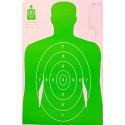 Qty: 50 B-27 Bright Green Silhouette Shooting Targets W/Arms 23x35