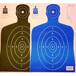 Qty. 100 B-27 50 Black/50 Blue Silhouette Shooting Targets 23x35