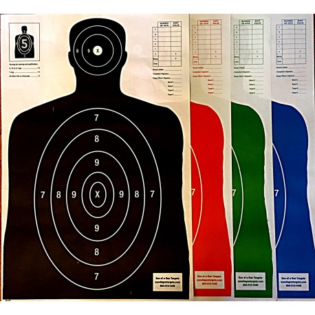 Qty:100 Four Color Combo Pack B-27 Silhouettes Shooting Targets 23x35
