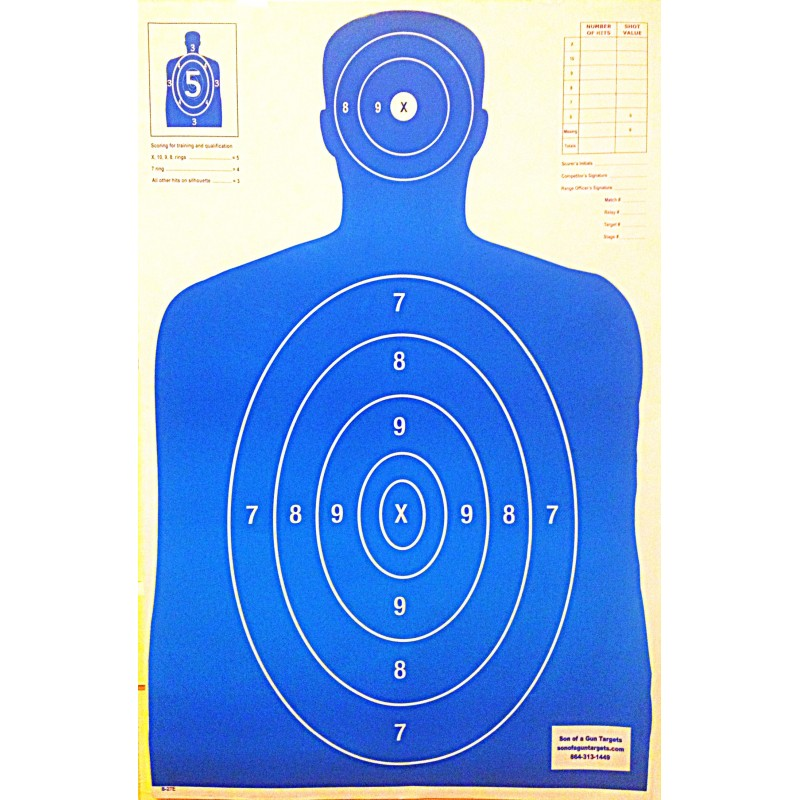 image relating to Printable Silhouette Shooting Targets called Qty. 100 B-27 Blue Silhouette Taking pictures Goals 23x35